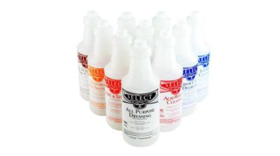 Bottles and sprayers. Vesco is a automotive cleaning product distributor in Michigan, Ohio and Pennsylvania.