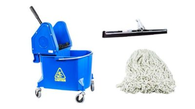 Mop bucket and mop. Vesco is an automotive janitorial supplies distributor in Michigan, Ohio and Pennsylvania